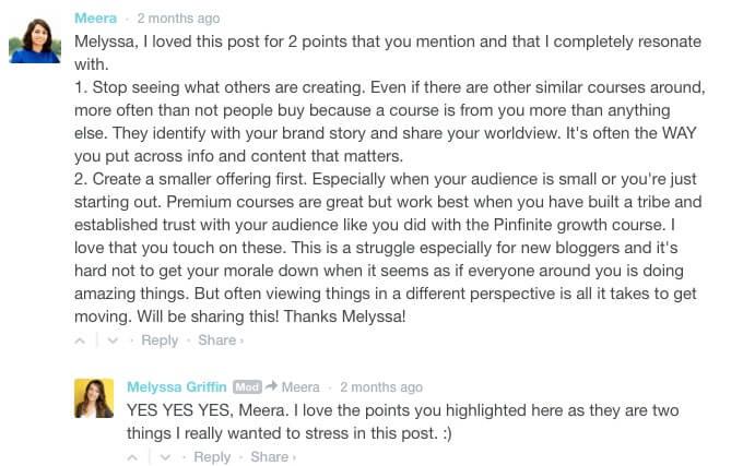 melyssa's blog comment