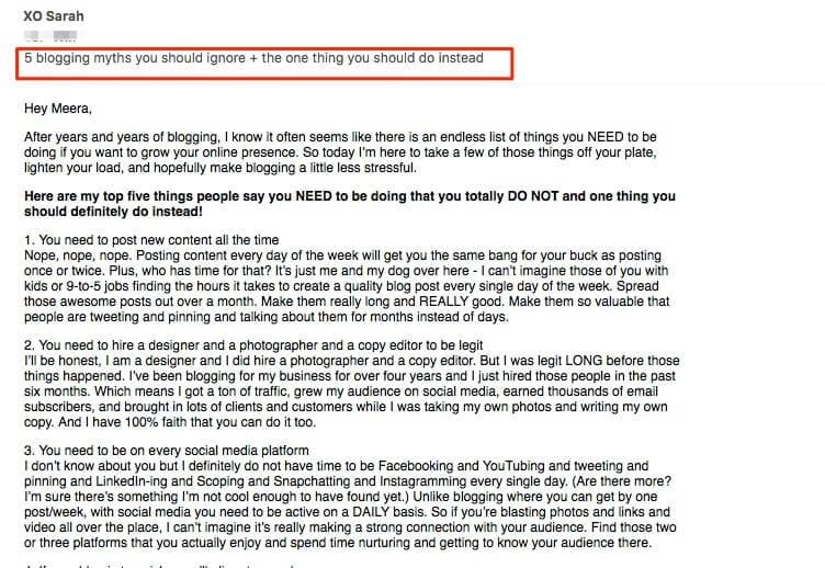 xo sarah myths email